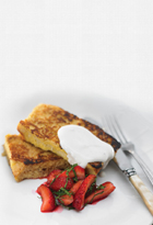 French Toast With Minted Strawberries And Yoghurt