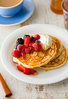 Homemade Pancakes with Fresh Berries, Yoghurt & Honey