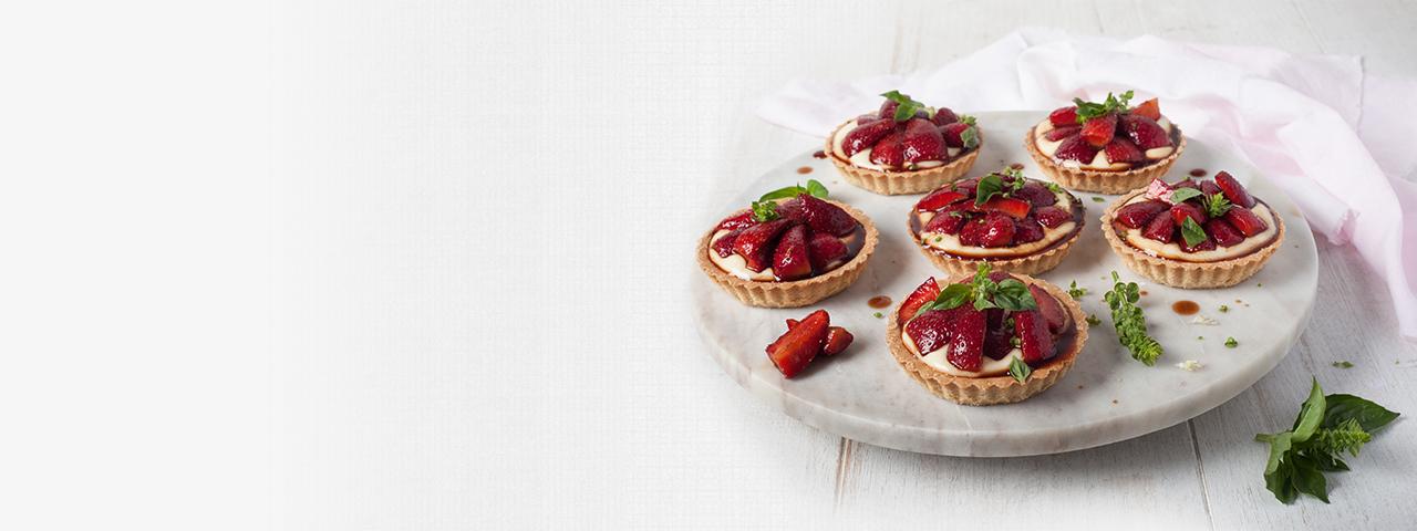 Balsamic Strawberry Custard Tartlets